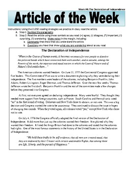 Article of the Week Bell Ringer Declaration of Independence
