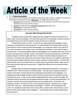 Article of the Week Bell Ringer: Impact of Inventors