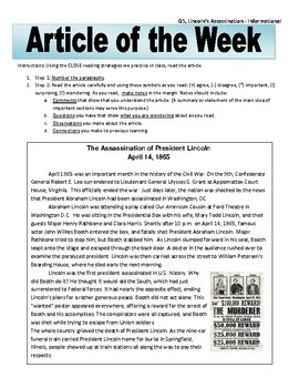 Article of the Week Bell Ringer: Lincoln's Assassination