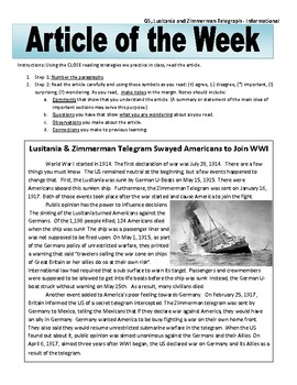 Article of the Week Bell Ringer: Lusitania and Zimmerman Telegram