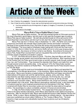 Article of the Week Bell Ringer Marco Polo's Trip to Kublai Khan's Court