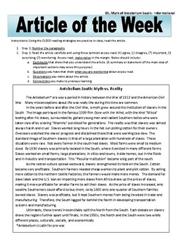 Article of the Week Bell Ringer: Myth of the Antebellum South