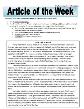 Article of the Week Bell Ringer: Reconstruction