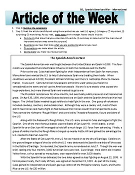 Article of the Week Bell Ringer: Spanish American War
