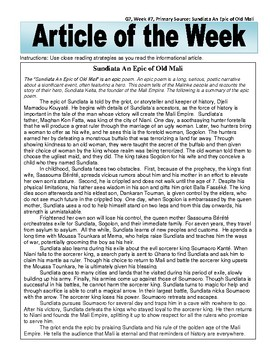 Article of the Week Bell Ringer Sundiata An Epic of Old Mali