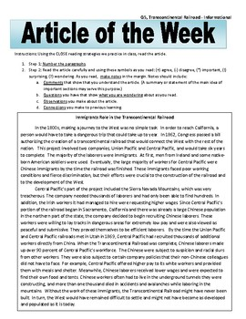 Article of the Week Bell Ringer: Transcontinental Railroad