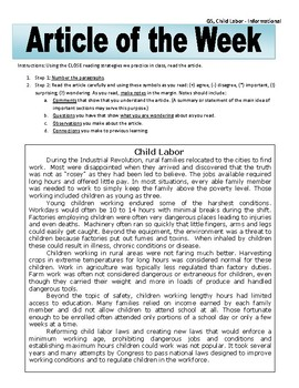Article of the Week Bell Ringer: Child Labor