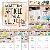 Article of the Week Club, 4th Grade   Nonfiction Reading Passages Common Core
