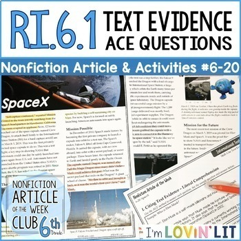 Article of the Week Club, Grade 6 (6th Grade Nonfiction Articles + Activities)