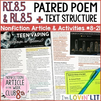 Article Of The Week Club 8th Grade Nonfiction Reading Passages Middle School