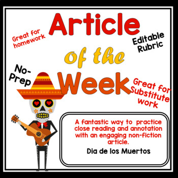 Article of the Week Day of the dead- Grade 6 7 8 Halloween themed