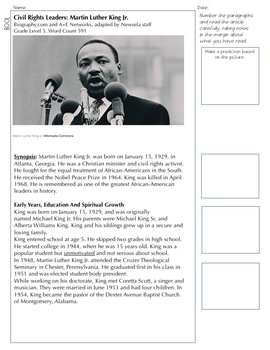 Article of the Week - Dr. Martin Luther King Jr. (STAAR-Aligned)
