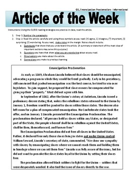 Article of the Week Bell Ringer Emancipation Proclamation