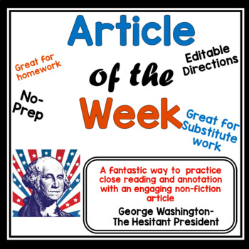 Article of the Week- George Washington- The Hesitant President for Middle Grades