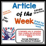 Article of the Week- George Washington- The Hesitant Presi