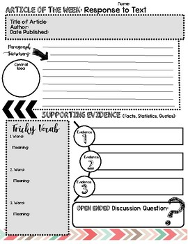 Article of the Week Graphic Organizer