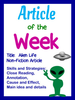 Article of the Week- Is there Alien Life Out There? Middle Grades Editable