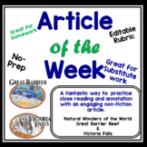Article of the Week Natural Wonders of the World- Middle Grades- Editable
