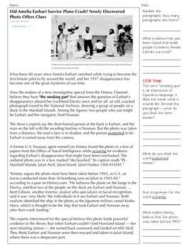 "Article of the Week - STAAR-Aligned Questions (""Amelia Earhart"")"