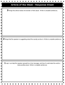 Article of the Week Scaffolded Response Sheet