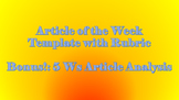 Article of the Week Template with Annotation Guide & RUBRIC
