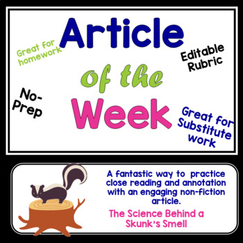 Article of the Week- The Science Behind a Skunk's Smell- Middle Grades Editable