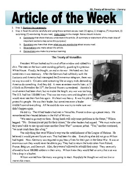 Article of the Week Bell Ringer: Treaty of Versailles