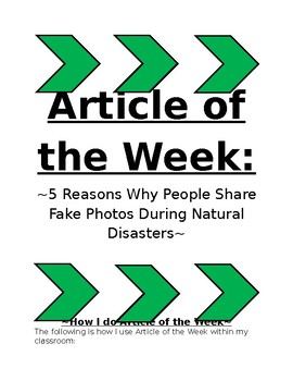 Article of the week (AOW)  5 Reasons Why People Share Fake Photos