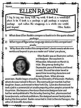 Article on Ellen Raskin, author of The Westing Game with questions