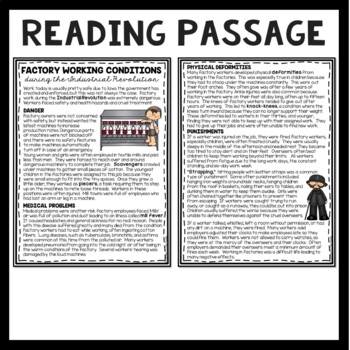 Factory Work during Industrial Revolution Reading Comprehension Worksheet, DBQ