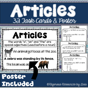 Articles Poster and Task Cards