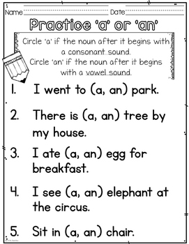 Articles A, An, The-First Grade