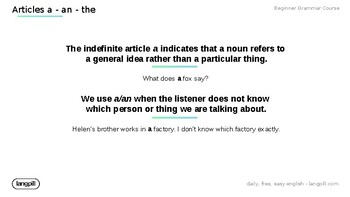 Articles 'A' 'An' 'The' Powerpoint