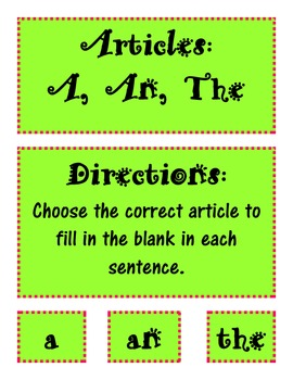 Articles A, An, The activity, worksheets, and task cards