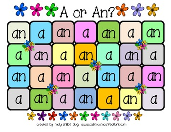 Articles A and An Game: Literacy Center: Grammar Game: 4th grade, 3rd, 5th