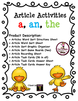 Articles Activities:  a, an, and the:  Perfect for Daily 5!!!
