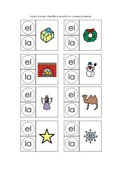Articles Christmas theme spanish - Artículos el y la español