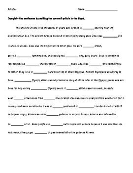 Articles Practice