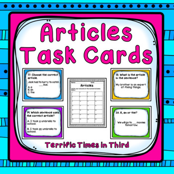 Articles Task Cards: Using a, an, and the