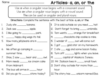 Articles Worksheet (a, an, the)