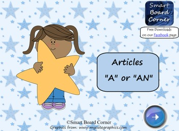 """Articles """"a"""" or """"an"""" Smart Board Lesson"""