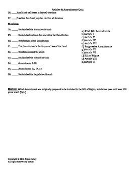Articles and Amendments Quiz