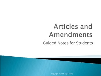 Articles and Amendments guided note packet