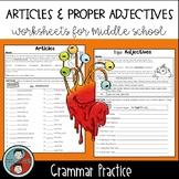 Articles and Proper Adjectives - Grammar Worksheets
