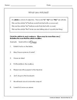 """Articles are Adjectives - """"a"""", """"an"""", """"the"""" - 3 worksheets - Grades 1 & 2 - CCSS"""