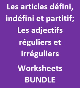 Articles et Adjectifs French worksheets Bundle