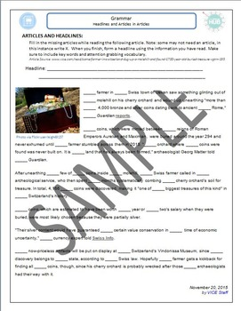 Articles (grammar): Headlines and Articles in Articles w/Answer Key  (Adult ESL)