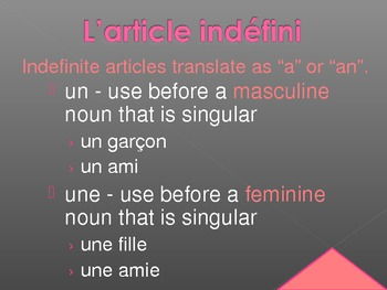 Articles in French power point