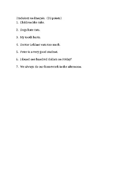 Articles in French Test 2