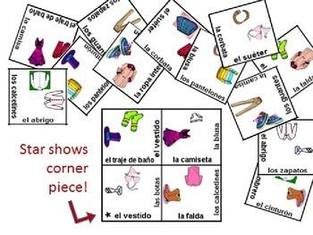 Spanish Clothing Vocabulary Puzzle